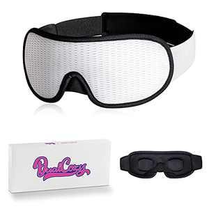 DualCozy Sleeping Mask for Men&Women, 3D Contoured White Sleep Masks, Black Out Eye Masks for Sleeping, Light Blocking Sleep Mask for Travel,Sleep,Shiftwork,Meditation