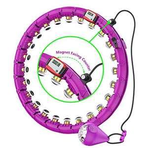 SLERFT Smart Weighted Hula Hoop, 24 Detachable Fitness Hoop, Smart Counting, Weighted Hoop, Suitable For Adults And Kids Fitness, Weight Loss