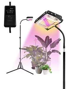 Otdair Grow Light with Timer, Full Spectrum Plant Light for Indoor Plants with 35-60 Inches Longer Tripod Feet Stand, LED Standing Floor Grow Lamp with Auto Timer 3/6/9/12H for Tall Plants