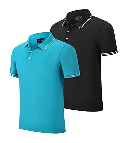 Boyzn Men's 2 Pack Polo Shirts Quick Dry Short Sleeve Golf Polo Shirt A03-Black/Blue-M