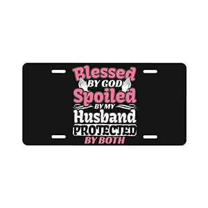 Blessed by God Spoiled by My Husband License Plate Frame for Women Man Cover Front of Car Vanity Tag Aluminum Novelty Home Decoration 6 X 12 Inch