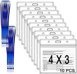 CDC Vaccine Card Protector 4x3 Cards Badge Holder with Lanyard Clear PVC Waterproof Resealable Zip Type (10 Pack)