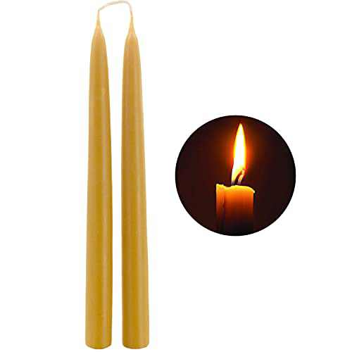 """Natural Beeswax Taper Candles - DEYBBY 12"""" Tall Votive Eco Candles - 10Hrs Burn Time, Smokeless and Dripless, 2 Pack"""