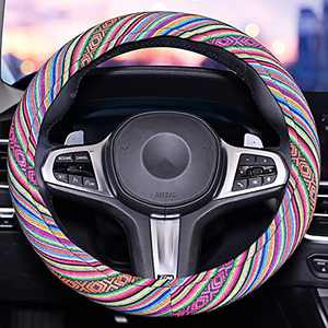 Universal 15inch Sweat Absorption Steering Wheel Cover with Coarse Flax Cloth SWC0 (Boho-Green3)