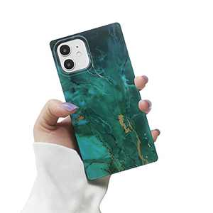 iPhone 12 Case for Women,LucaSng Cute Silicone iPhone 12 Pro Case,Marble Saquare TPU Protective Phone Case for iPhone 12/12 Pro(Green)