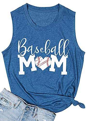 T&Twenties Women Baseball Mom Heart Print Tank Tops Casual Love Baseball Mom Life Vest Sleeveless Baseball Muscle Workout Shirt