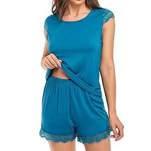 Sylanfia Short Pajama Set for Women, 2 Pcs Lace Sleeves Sexy Pj Sets Sleepwear Nightwear