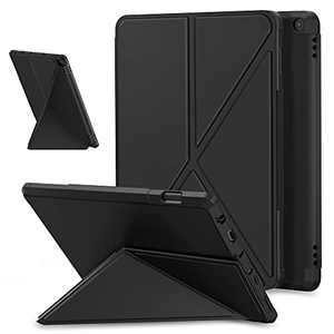 E NET-CASE Origami Case for All-New Amazon Fire HD 10 & Fire HD 10 Plus Tablet (Only Compatible with 11th Generation 2021 Release) - Multi Angle Magnetic Standing Cover with Auto Sleep/Wake (Black)