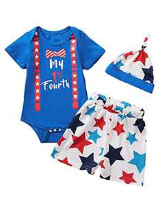 Singcoco Baby Boys Independence Day Outfits Newborn My 1st Fourth Bodysuit whit Hat (Blue,3-6 Months)