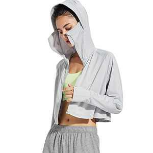 Women's UPF 50+ Long Sleeve Shirt Sun Protection Hiking Shirt Running Outdoor Quick Dry Hooded Shirts(Light Ash,L