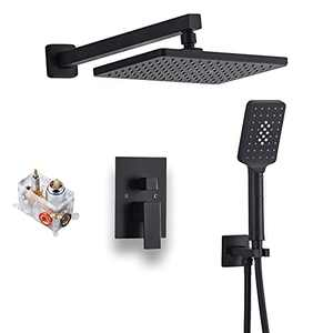 Shower System Matte Black Wall Mount Bathroom Shower Fixtures with Rain Shower Head and Waterfall Tub Spout Bathtub Shower Faucet (Black - Square)