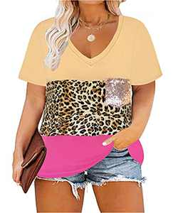 Ritera Plus Size Summer Short Sleeve Tunic Tops Colorblock T Shirts Leopard Sequin Pocket Tee Blouses Leopard Pink 4XL