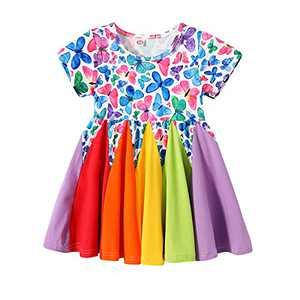 Baby Girl Dress Toddler Short-Sleeve Rainbow Dresses Heart/Mermaid Dresses Beach Sundress Summer Party Outfits (Bfly, 1, 3_Years)