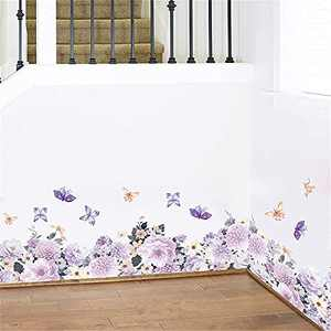 Supzone Purple Flower Corner Wall Stickers Penny Flower Skirting Board Wall Decals Colorful Floral Butterfly Baseboard DIY Removable Wall Art Sticker for Bedroom Living Room Kitchen Wall Decor