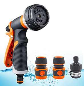 Moseem Hose Spray Gun,High Pressure Hose Nozzle Attachments with Hose Pipe Connect Adapters, 8 Patterns Suit for Car Washing, Gardening & Pets Shower
