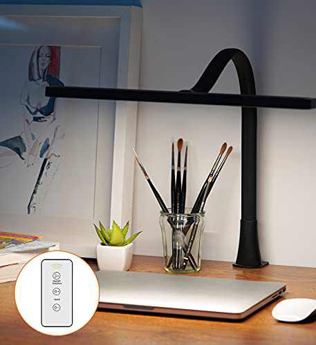 LED Desk Lamp with Remote Control - LUCKYCOW Gooseneck Desk Light with Clamp, 3 Light Modes and 10 Brightness Eye-Caring, 14W USB Powered Study Computer Lamp for Workbench/Home/Office Reading, Black