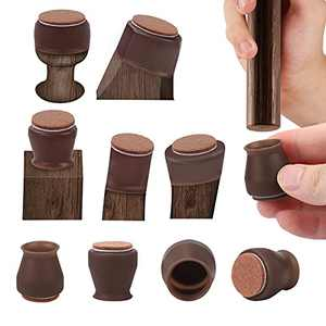 Chair Leg Protectors for Hardwood Floors, 16packs Felt Bottom Soft Silicone Furniture Foot Protector Pads, Felt Pads can Prevent Floor Scratches and Reduce Noise. (small-16, Cafe)