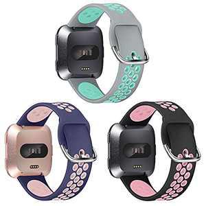 EZCO Sport Bands Compatible with Fitbit Versa 2 / Versa / Versa Lite, 3-Pack Soft Silicone Replacement Watch Strap Wristbands Accessories Women Men for Versa 2 Smart Watch