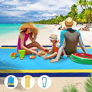 """Beach Mat Sand Free Beach Blanket, Waterproof & Sandproof Picnic Blankets, 79"""" X 83"""" Large Mats for 2-7 Adults, Outdoor Lightweight Blanket for Travel, Camping, Hiking, for Family, Kids, All Age"""