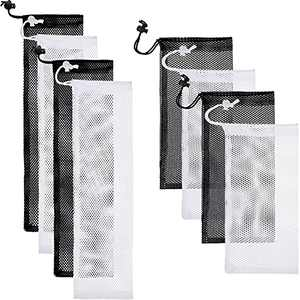 8 Pieces Bird Food Finch Sock Feeder, Large Thistle Seed Sack Thistle Sock Feeder Bird Feeder,Thistle Seed Sack in Black White for Bird Seed, 11 x 4.7 Inch, 15.7 x 3.9 Inch