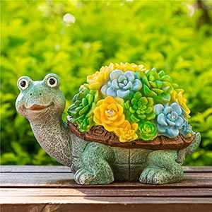 CASLONEE Garden Statue Turtles Figurines Animal Sculpture with Solar Powered 5 LED for Indoor Outdoor Decor, Patio Yard Lawn Resin Decoration, Housewarming Garden Gift(11.2 in)
