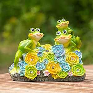 CASLONEE Garden Statue Frogs Figurine Outdoor Solar Statue with Beautiful Flowers Animal Sculpture Solar Powered 6 LED Outdoor Decor, Waterproof Patio Yard Lawn Resin Decoration