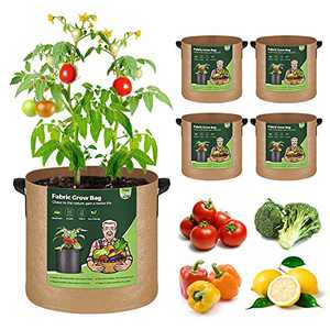 T4U Fabric Plant Grow Bags 7 Gallon Pack of 5, Heavy Duty Cloth Smart Garden Pot with Handles, Thickened Aeration Nonwoven Planter Container for Outdoor Potato, Tomato, Chili, Carrot and Vegetables