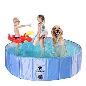 Dog Pool, Giocoso 2021 Upgraded Foldable Portable Kiddie Pool, Collapsible Dog PVC Bathtub for Outside, Non-Slip XXL Swimming Pool for Ducks, Large Dogs (L)