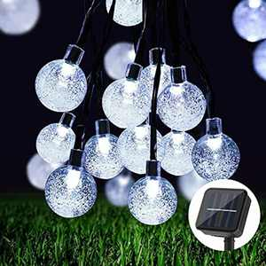 BLOOMWIN Solar Garden Lights 36FT 60 LED Solar Fairy Lights Outdoor Waterproof Crystal Ball Decorative Solar String Lights Garden,Patio,Yard,Christmas Tree,Parties,Festival(Warm White)