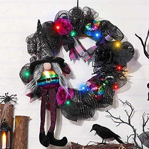 S-DEAL Artificial Wreath Halloween Witch Gnome Wreath with Light 15 Inches Mesh Wreath with Spider and Pumpkin for Front Door Hanging Wall Window Home Decorations