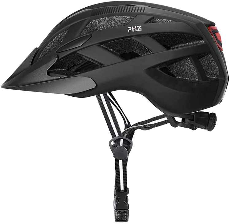 PHZ Adult Bike Helmet Cycling Bicycle Helmet Adjustable Lightweight with USB Rechargeable Light/Detachable Visor/Vents for Mens Womens (Fits Head Sizes 55-61cm)