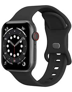 Watch Band Compatible with Apple Watch Band 38mm 40mm Women Men iWatch band Soft Silicone Sport Strap Wristband Compatible with Apple Watch Series 6 5 4 3 2 1 SE (Black,38/40mm,S/M)