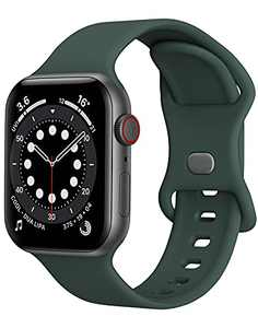 Sport Band Compatible with Apple Watch Bands 38mm 40mm iWatch band Soft Silicone Strap Wristbands Compatible with Apple Watch Series 6 5 4 3 2 1 SE Women Men (Olive Green,38/40mm,S/M)