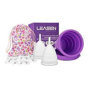 LEASEN Menstrual Cups - Set of 2 Reusable Period Cups for Feminine Care - Premium Design with Soft, Flexible, Medical-Grade Silicone - with Menstrual Cup Wash