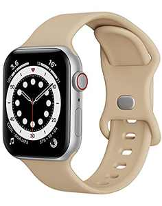 Sport Band Compatible with Apple Watch Bands 42mm 44mm iWatch band Soft Silicone Strap Wristbands Compatible with Apple Watch Series 6 5 4 3 2 1 SE Women Men (Light Brown,42/44mm, L)