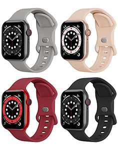 4 Packs Sport Band Compatible with Apple Watch Bands 42mm 44mm iWatch band Soft Silicone Strap Wristbands Compatible with Apple Watch Series 6 5 4 3 2 1 SE Women Men