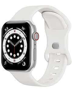 Watch Band Compatible with Apple Watch Band 38mm 40mm Women Men iWatch Band Soft Silicone Sport Strap Wristband Compatible with Apple Watch Series 6 5 4 3 2 1 SE (White,38/40mm,S/M)