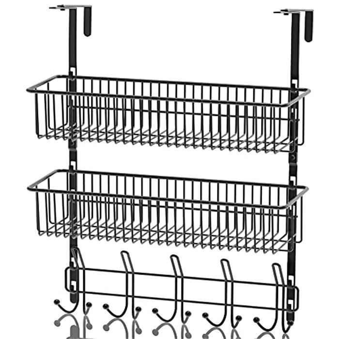 Over Door Storage Rack Hanger 15 Shelf Organizer Over Door Coat Hooks with Mesh Basket Storage Rack, Over Door Hooks for Hanging Coats,Black Wire Basket for Home Storage Organizer (2 Basket)