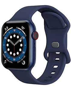 Sport Band Compatible with Apple Watch Bands 42mm 44mm iWatch band Soft Silicone Strap Wristbands Compatible with Apple Watch Series 6 5 4 3 2 1 SE Women Men (Navy Blue,42/44mm, L)