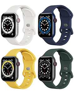 4 Packs Sport Band Compatible with Apple Watch Bands 38mm 40mm iWatch band Soft Silicone Strap Wristbands Compatible with Apple Watch Series 6 5 4 3 2 1 SE Women Men