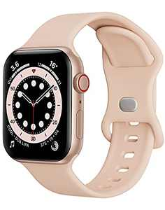 Watch Band Compatible with Apple Watch Band 38mm 40mm Women Men iWatch Band Soft Silicone Sport Strap Wristband Compatible with Apple Watch Series 6 5 4 3 2 1 SE (Pink,38/40mm,S/M)