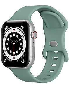 Watch Band Compatible with Apple Watch Band 42mm 44mm Women Men iWatch Band Soft Silicone Sport Strap Wristband Compatible with Apple Watch Series 6 5 4 3 2 1 SE (Pine Green,42/44mm, L)