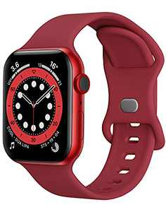 Sport Band Compatible with Apple Watch Bands 42mm 44mm iWatch band Soft Silicone Strap Wristbands Compatible with Apple Watch Series 6 5 4 3 2 1 SE Women Men (Wine Red,42/44mm, L)