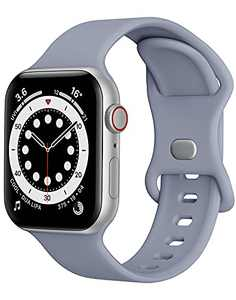 Sport Band Compatible with Apple Watch Bands 42mm 44mm iWatch band Soft Silicone Strap Wristbands Compatible with Apple Watch Series 6 5 4 3 2 1 SE Women Men (Lavender Grey,42/44mm, L)
