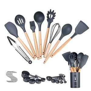 Kitchen Utensils 30 Pcs, Icekids Silicone Kitchen Utensil Set with Wooden Handle, Heat Resistant Cooking Utensils Kitchen Gadgets, Non-Scratch&Non-Stick Kitchen Tools, Grey