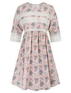 Women's Elegant Floral Stretchy Waist A Line Mini Dress Pockets Floral 4 S