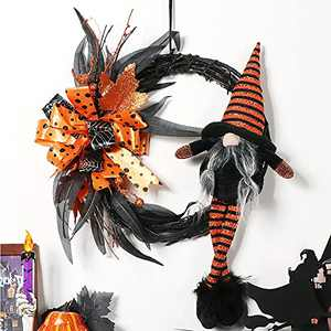 XAMSHOR Artificial Halloween Wreath 14Inch Witch Gnome Wreath with Bowknot, Grapevine Wreath for Front Door Window Wall Halloween Decoration