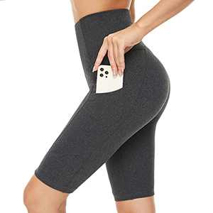 "HIGHDAYS Biker Shorts for Women with Pockets - 8"" High Waist Tummy Control Workout Running Yoga Shorts (Charcoal Grey 8"", Medium, m)"