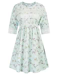 GRACE KARIN Women's Elegant Floral Lace Work Half Sleeve Casual Loose Dress Floral 3 XL