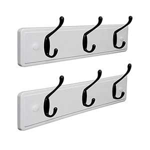 """Coat Rack Wall Mount(2 Pack), Rustic Coat Hanger with 3 Hooks (15.6""""L), Sturdy Hat Rack for Wall Hanging Coat Hat Key Mask Sunglasses Towel Cup, for Entryway Closet Bathroom Kitchen, White"""